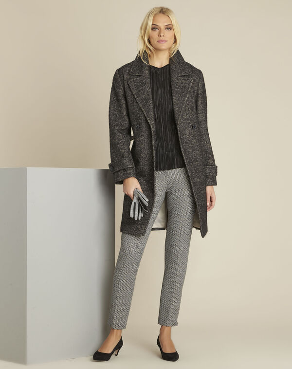 Manteau gris chiné en laine mélangée Elaine (2) - 1-2-3