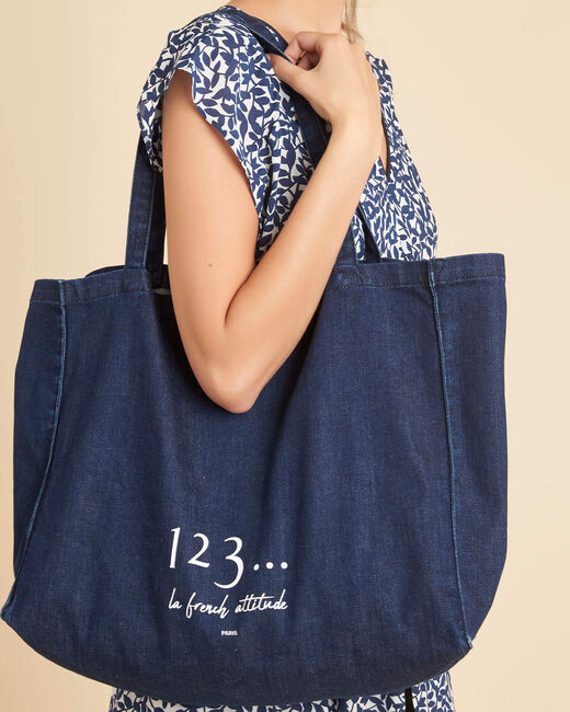 Tote bag marine effet denim Diva (1) - 1-2-3