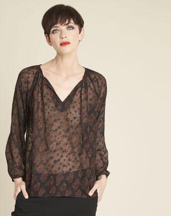 Zwarte blouse van kant met uitsparingen constantine noir.