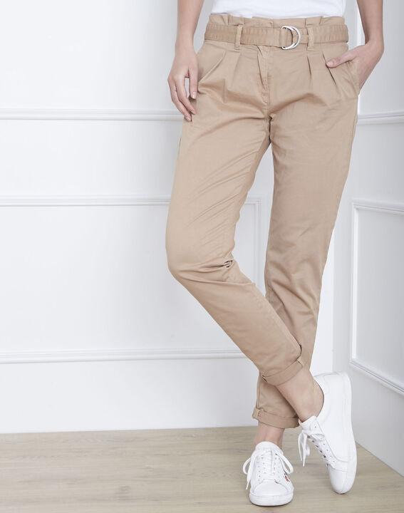 Pantalon beige chino ceinturée Clovis PhotoZ | 1-2-3