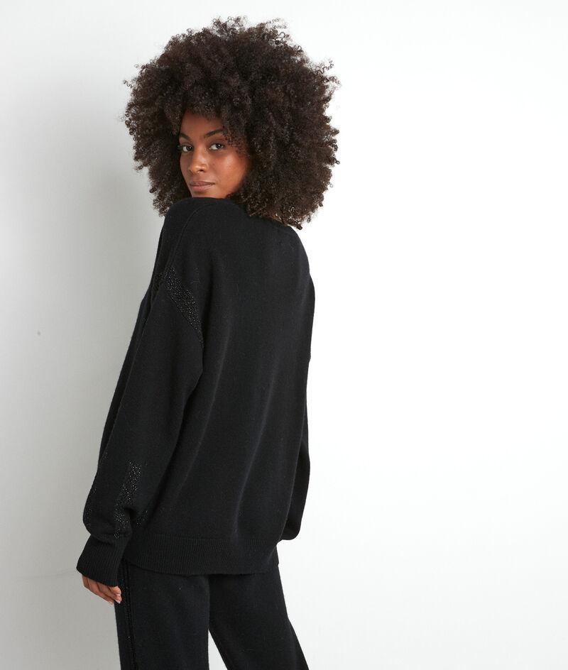 Pull en laine recyclé noir Tobby PhotoZ | 1-2-3