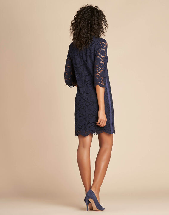 Poesie navy lace dress with side strip (4) - 1-2-3
