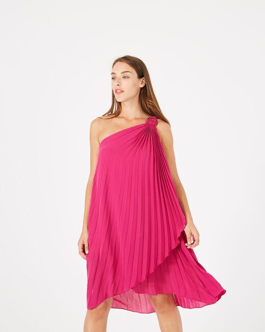 Himbeerrotes asymmetrisches Kleid Gabrielle (1) - 1-2-3