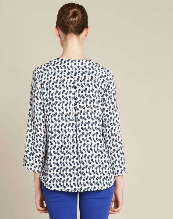 Gervaise navy blue blouse with floral print (4) - 1-2-3
