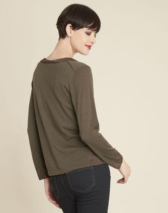 Khakifarbener dünner Pullover mit V-Ausschnitt Bergamotte (4) - 1-2-3