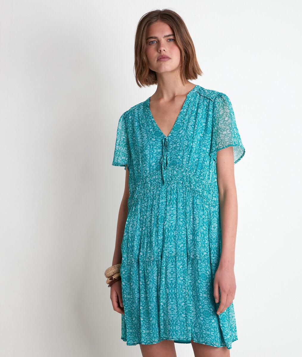 Robe imprimée turquoise Lola  PhotoZ   1-2-3