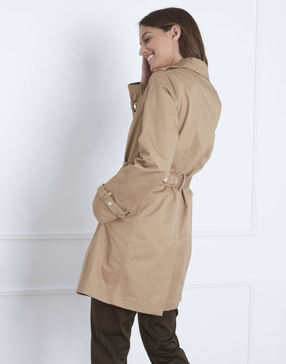 Dune beige straight-cut belted trench coat (4) - Maison 123