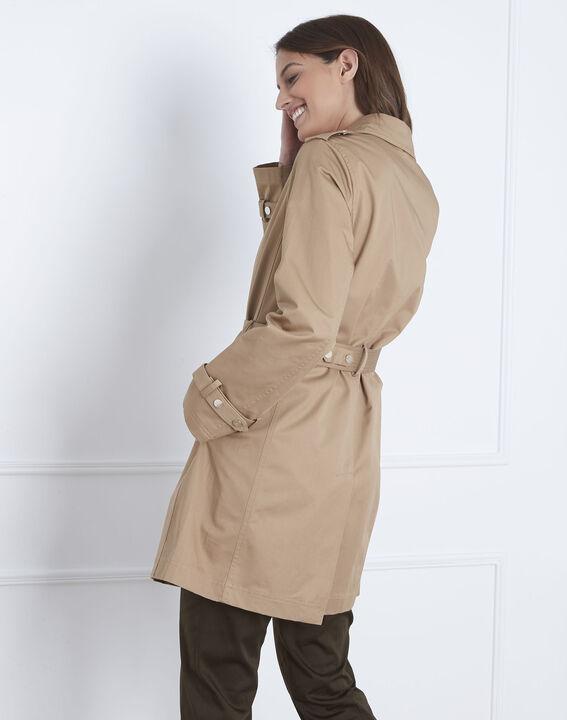 Gerade, beigefarbener Trenchcoat mit Gürtel Dune (4) - Maison 123