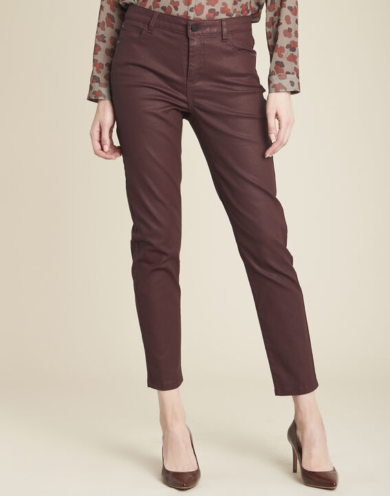 Vendôme 7/8 length burgundy coated jeans (1) - 1-2-3