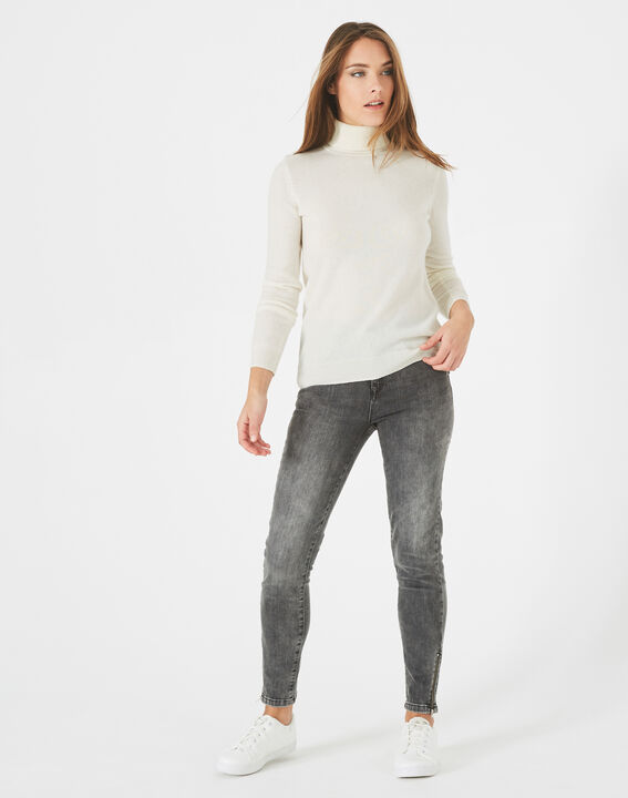 Perceneige ecru polo-neck cashmere sweater PhotoZ | 1-2-3