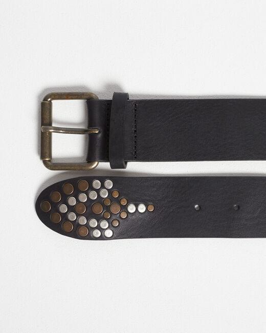 Schwarzer breiter Fantasie-Gürtel aus genarbtem Leder Roy (2) - 1-2-3