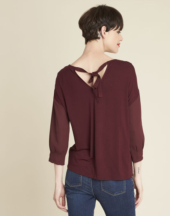 Cleo red dual-fabric blouse with frilled detailing (4) - 1-2-3
