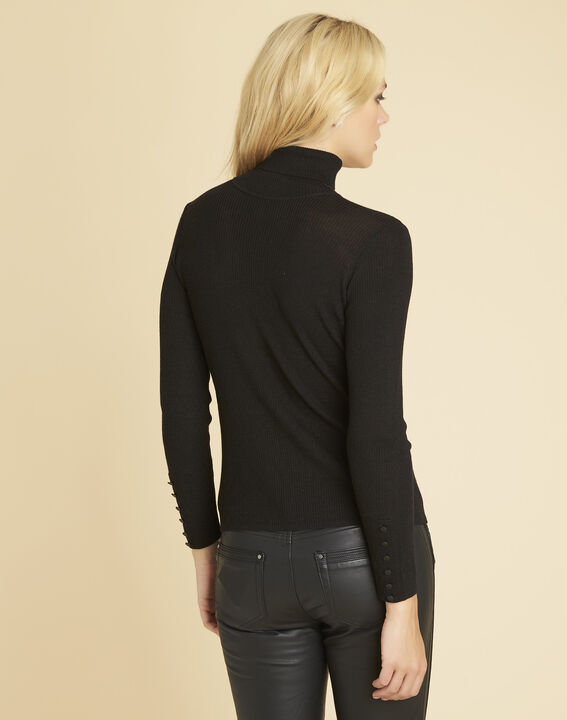 Basile black polo neck sweater in a fine knit (4) - 1-2-3