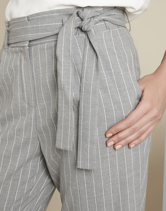 Hemy grey striped belted trousers (3) - 1-2-3