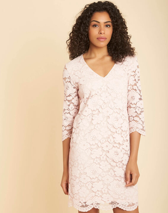 Poesie nude lace dress with side strip (3) - 1-2-3