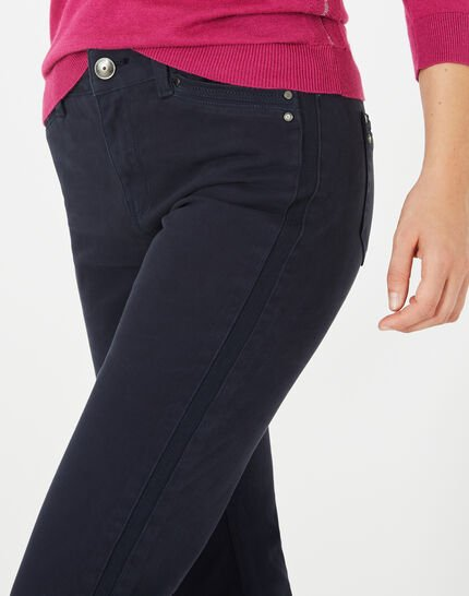 Pia 7/8 length navy blue satin trousers (5) - 1-2-3