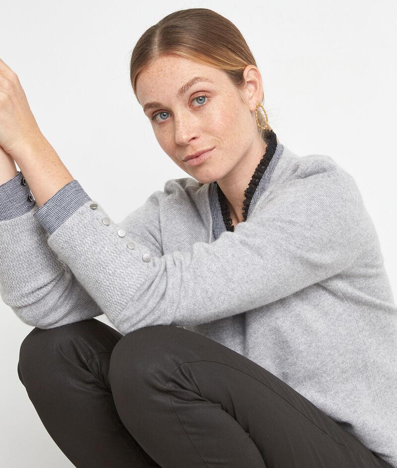 Blouse en coton et détails dentelle noire et grise Alex PhotoZ | 1-2-3