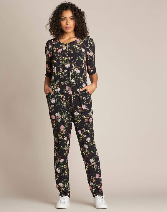 Pacha black playsuit with floral print PhotoZ | 1-2-3