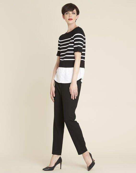 Lara compact black trousers with a leather-effect belt (2) - Maison 123