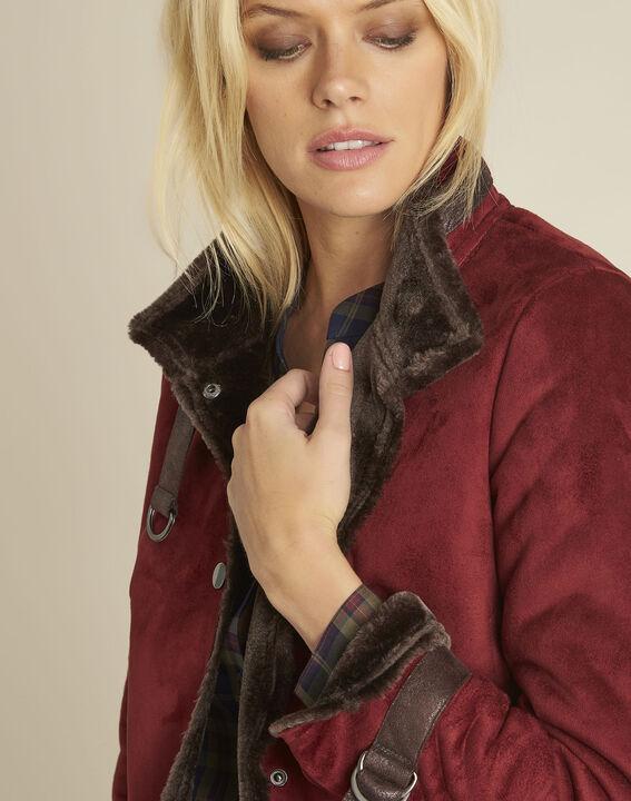 Sacha red high collar suedette jacket (3) - 1-2-3