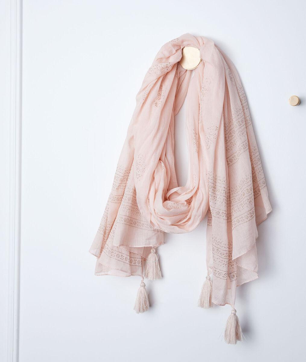 Foulard rose à franges bella