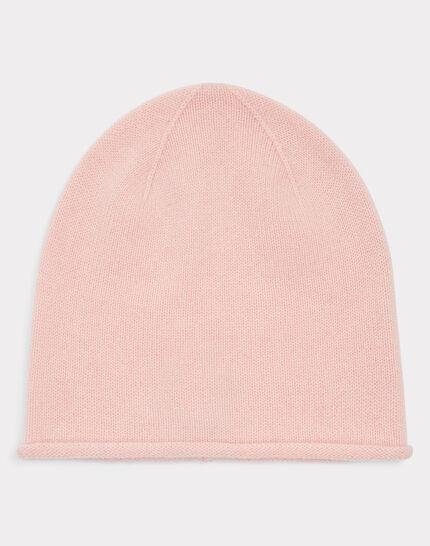 Bonnet rose pâle en cachemire tilleul