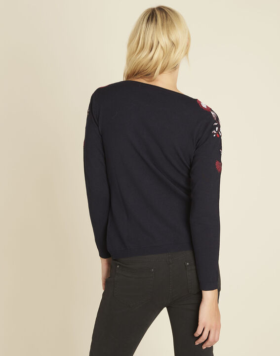 Broderie navy blue sweater with floral embroidery on the shoulders (4) - 1-2-3