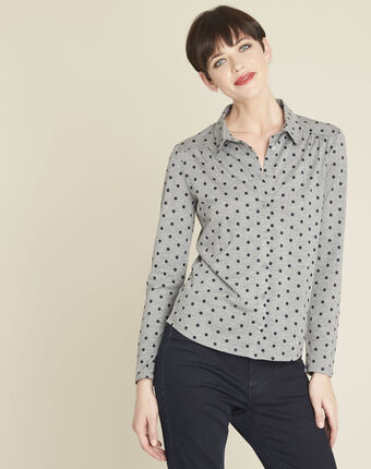Gaby grey polka dot print t-shirt dark grey.