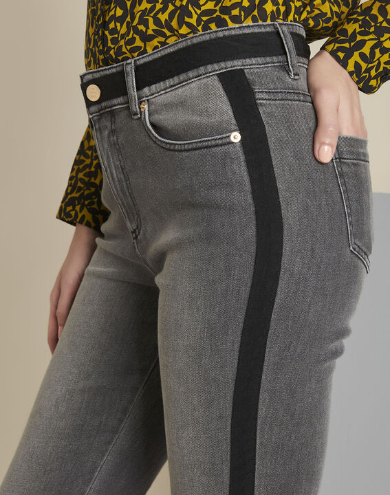 Vivienne grey slim-cut jeans with sidebands (3) - 1-2-3