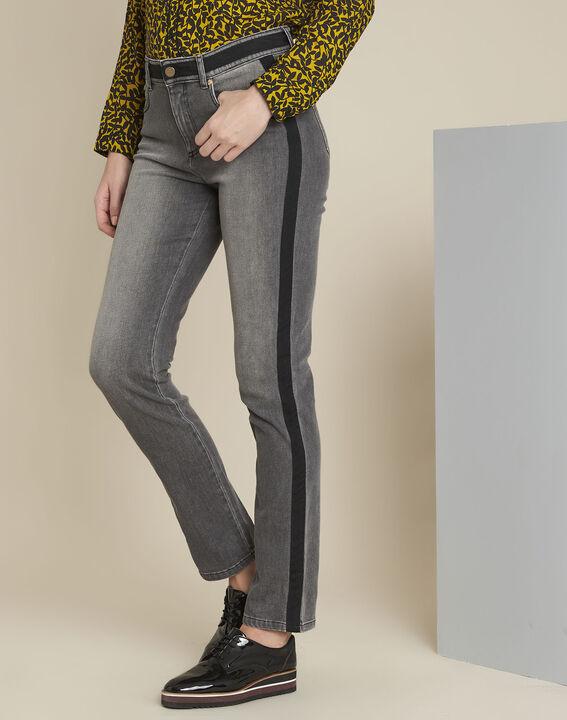 Graue Slim Jeans mit Seitenstreifen Vivienne PhotoZ | 1-2-3