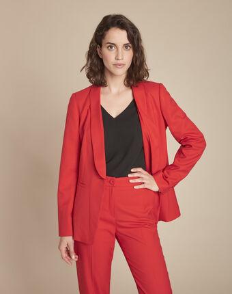 Veste rouge col tailleur bianca grenade.