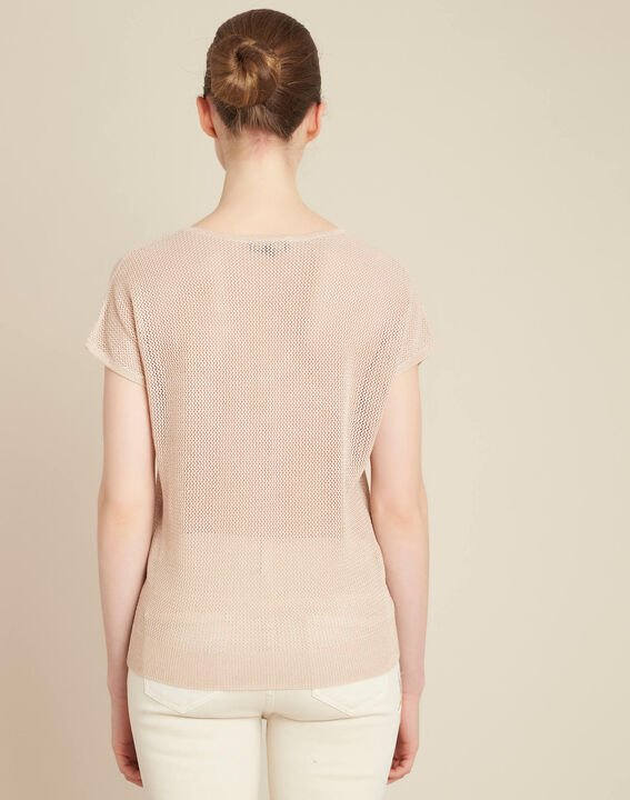 Noix short-sleeved fine-knit gold sweater (4) - 1-2-3
