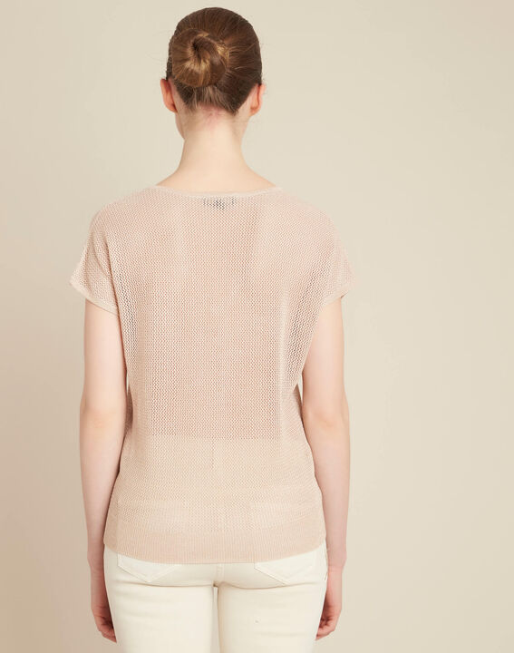 Noix short-sleeved fine-knit gold sweater (4) - 1-2-3