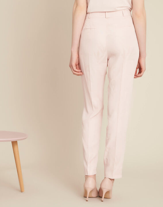 Vada pale pink trousers with jacquard palm print (4) - 1-2-3