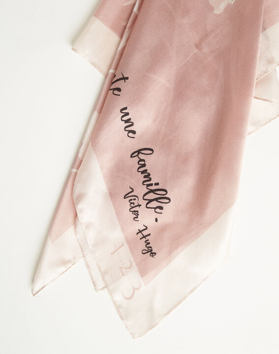 Amberita pale pink square silk scarf with floral quotation design (2) - 1-2-3