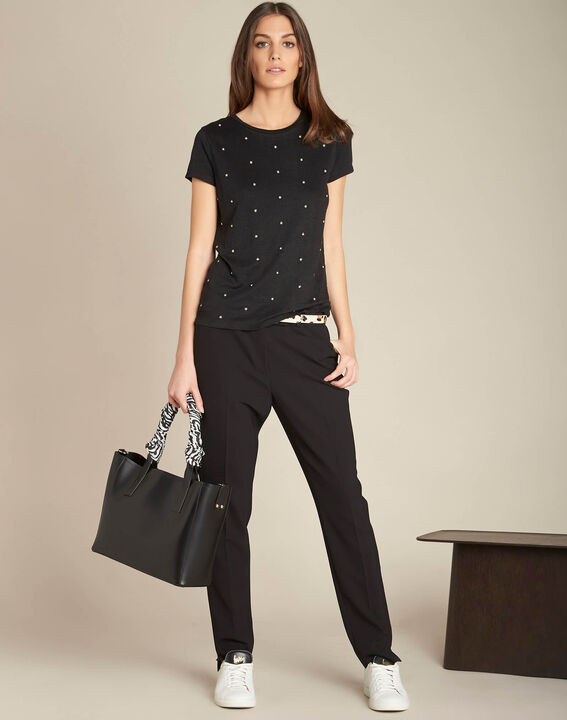Epearls black T-shirt in linen with embroidered beading (2) - 1-2-3