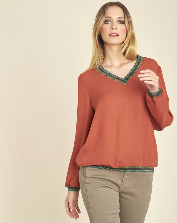 Carla terracotta loose blouse with shiny V-neckline (1) - 1-2-3