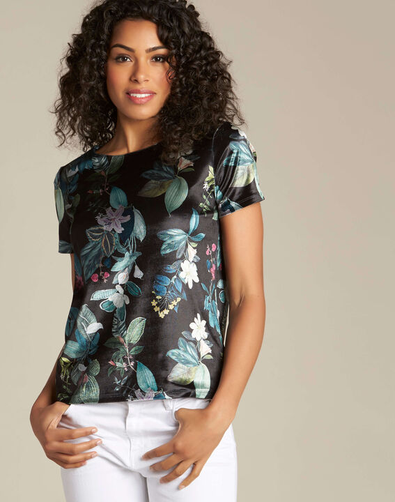 Evy black T-shirt with floral print (3) - 1-2-3