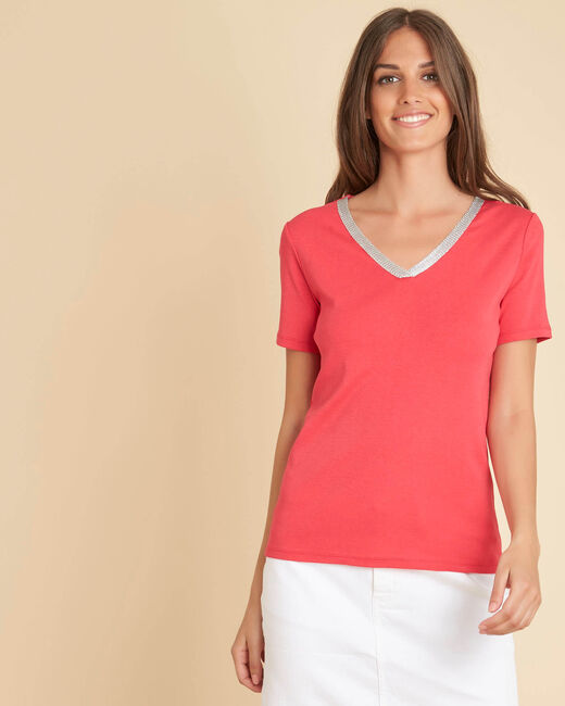 Etincelant red T-shirt with romantic neckline (2) - 1-2-3