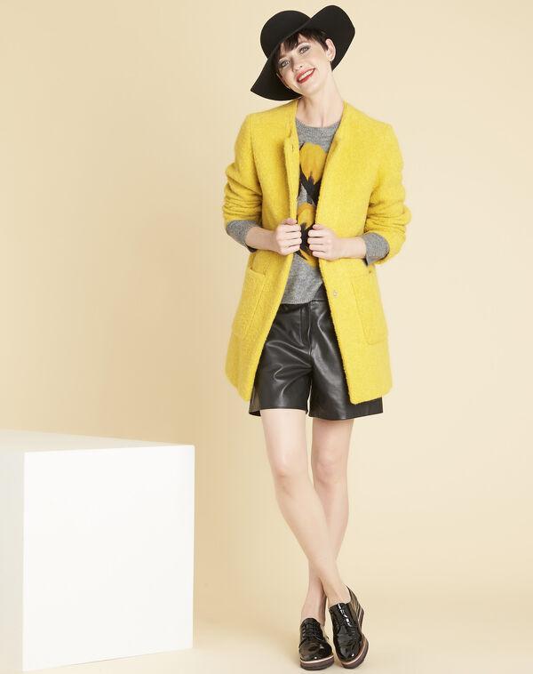 Manteau jaune 3/4 laine mélangée Emma (2) - 1-2-3