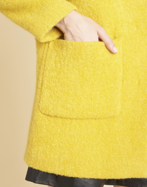 Emma yellow 3/4 length coat in a wool blend (3) - 1-2-3