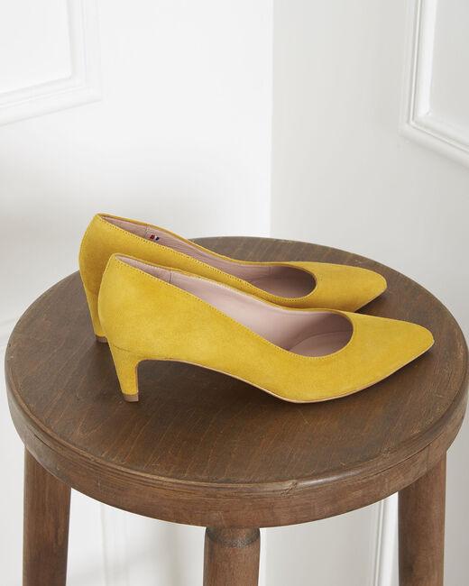 Lili yellow high heels in suede goatskin (2) - 1-2-3
