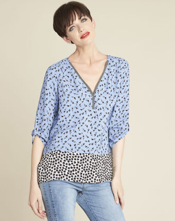 Collioures print blouse with decorative neckline multicolour.