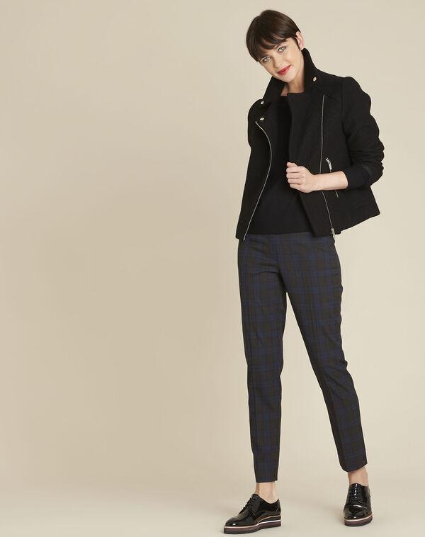 Zwarte trui met decoratieve halslijn van gemengd wol Beryl (2) - 37653