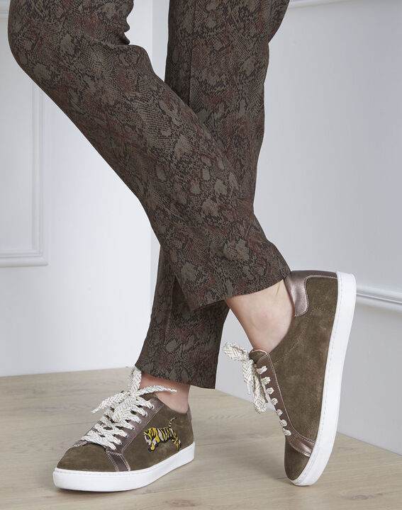 Baskets kaki en cuir velours broderie fantaisie Yoko PhotoZ | 1-2-3
