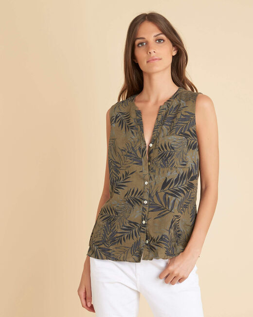 Gladys khaki linen top with palm print (2) - 1-2-3