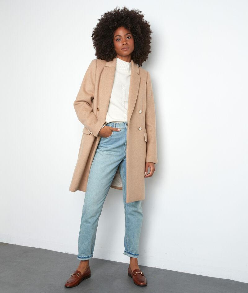 Gerader Mantel aus recycelter Wolle beige mit goldfarbenen Knöpfen Lorine PhotoZ | 1-2-3
