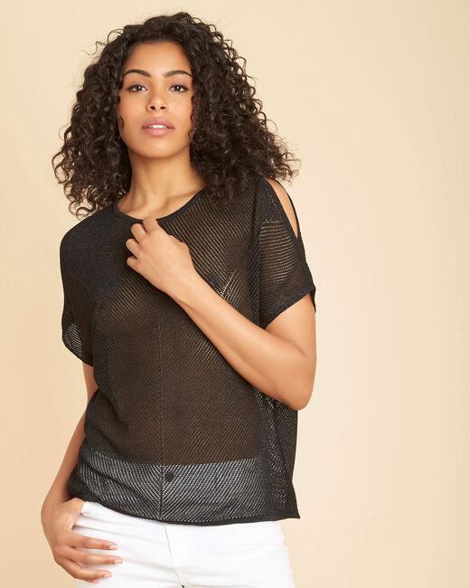 Nala shiny black openwork sweater (2) - 1-2-3