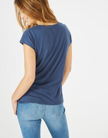 Tee-shirt bleu roi imprimé Bambou (5) - 1-2-3
