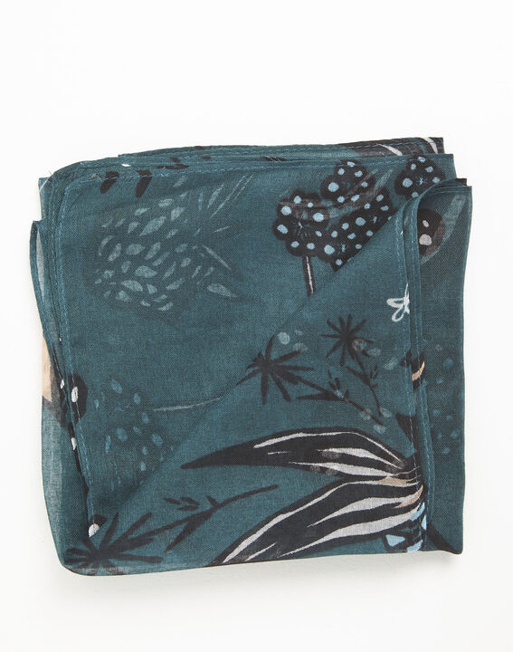 Groene sjaal met bloemenprint Fleur (3) - 37653